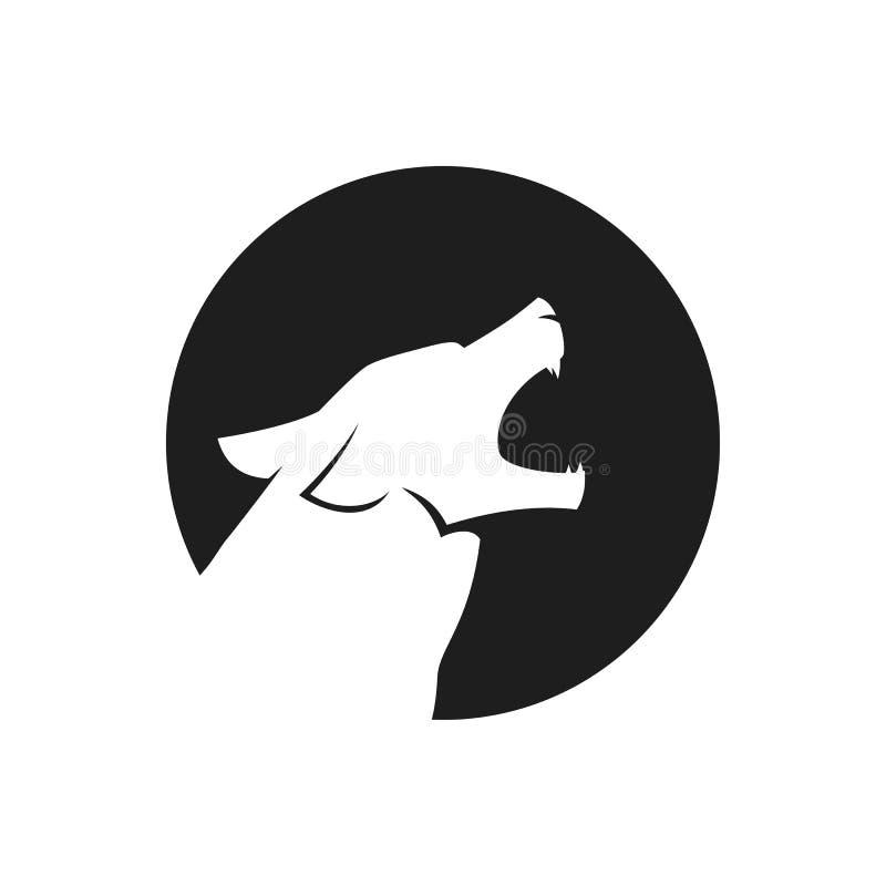 Huilend wolfs hoofdembleem of pictogram in zwart-wit vector illustratie