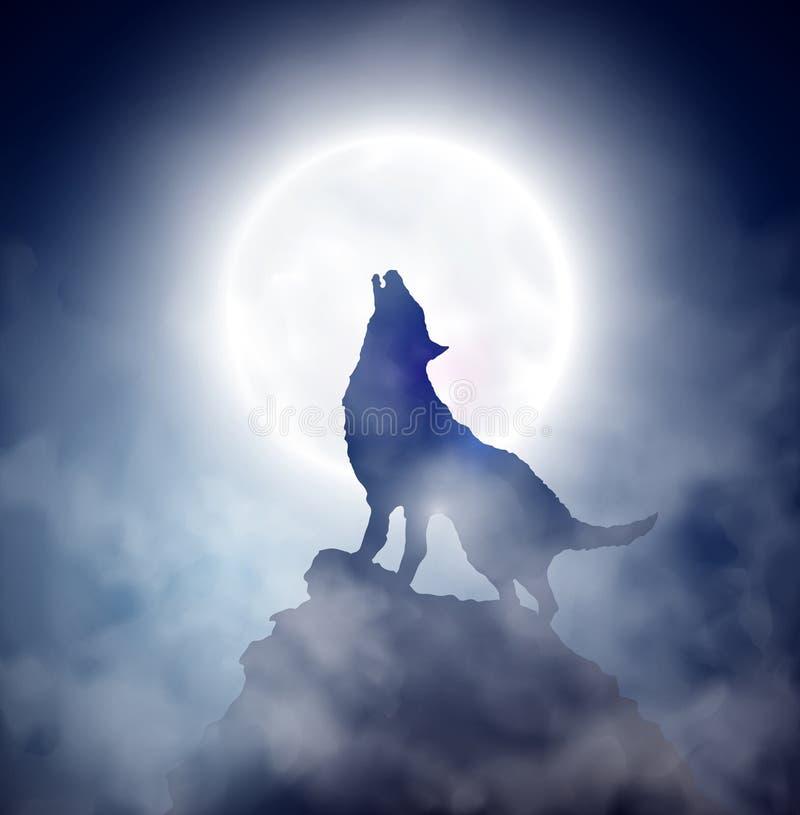 Huilende wolf royalty-vrije illustratie