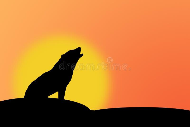Download Huilende wolf stock illustratie. Illustratie bestaande uit zonsondergang - 56331