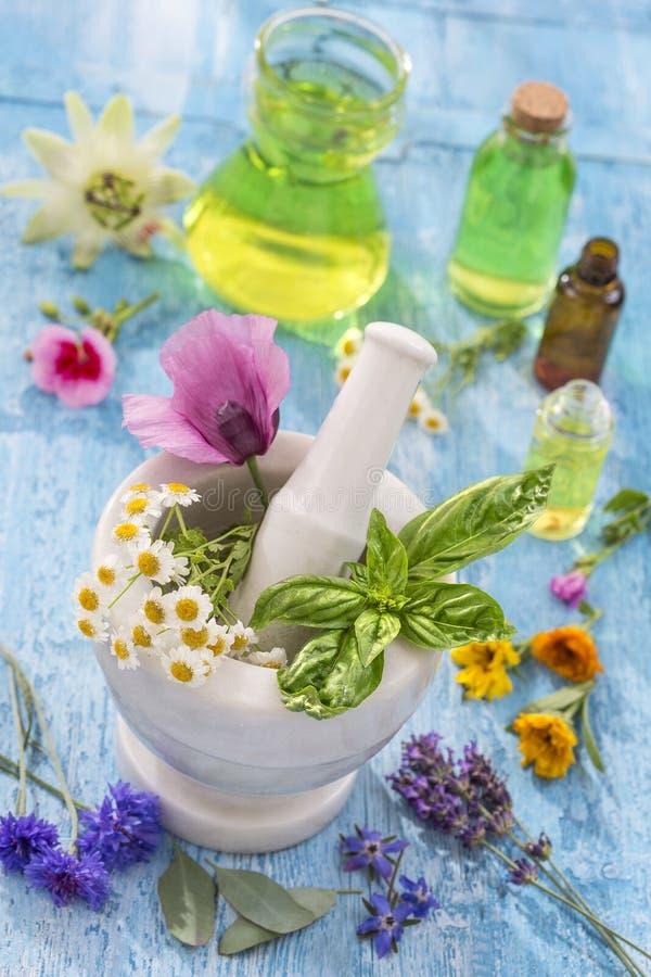 Huiles essentielles pour le traitement d'aromatherapy avec les herbes fraîches à l'arrière-plan de blanc de mortier photo stock