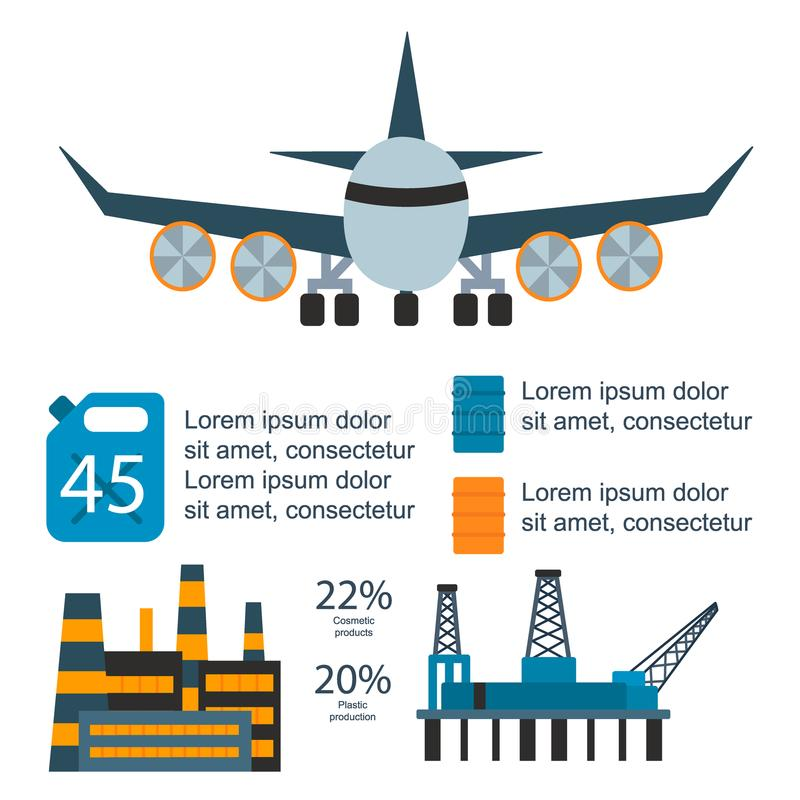 Huilez l'illustration infographic de vecteur d'extraction de pétrole de distribution de production mondiale de gaz de fabrication illustration stock