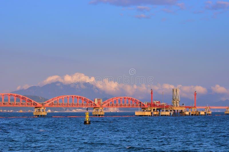 Huilez la ligne de pipe de transfert sur la mer sous la lumière de coucher du soleil image stock
