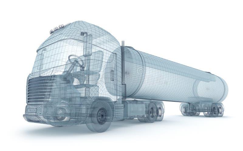 Huilez le camion avec le conteneur de cargaison, modèle de fil illustration libre de droits