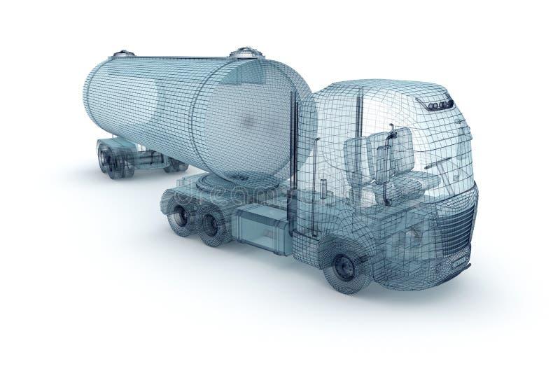 Huilez le camion avec le conteneur de cargaison, modèle de fil illustration de vecteur