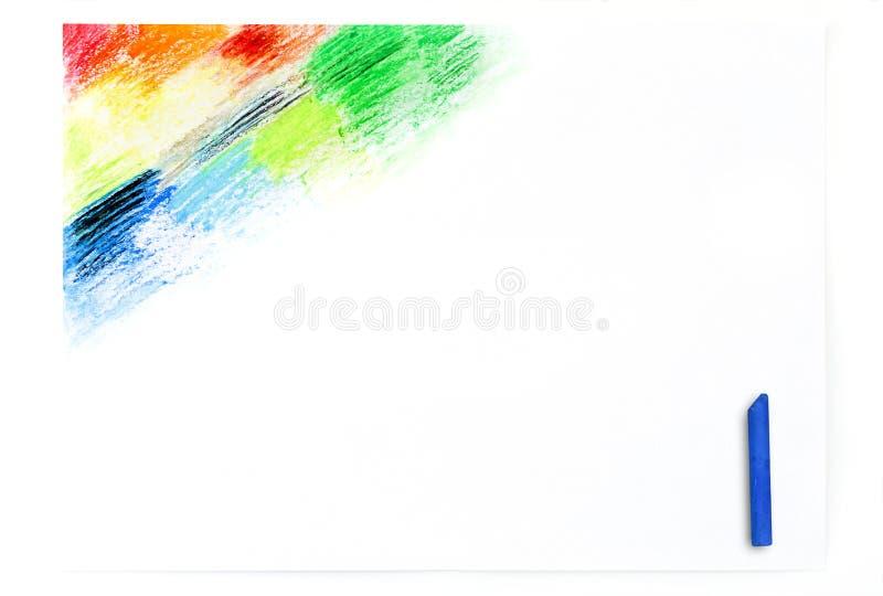 Huilez le dessin coloré d'art de crayons de pastels d'isolement sur le pape blanc images stock