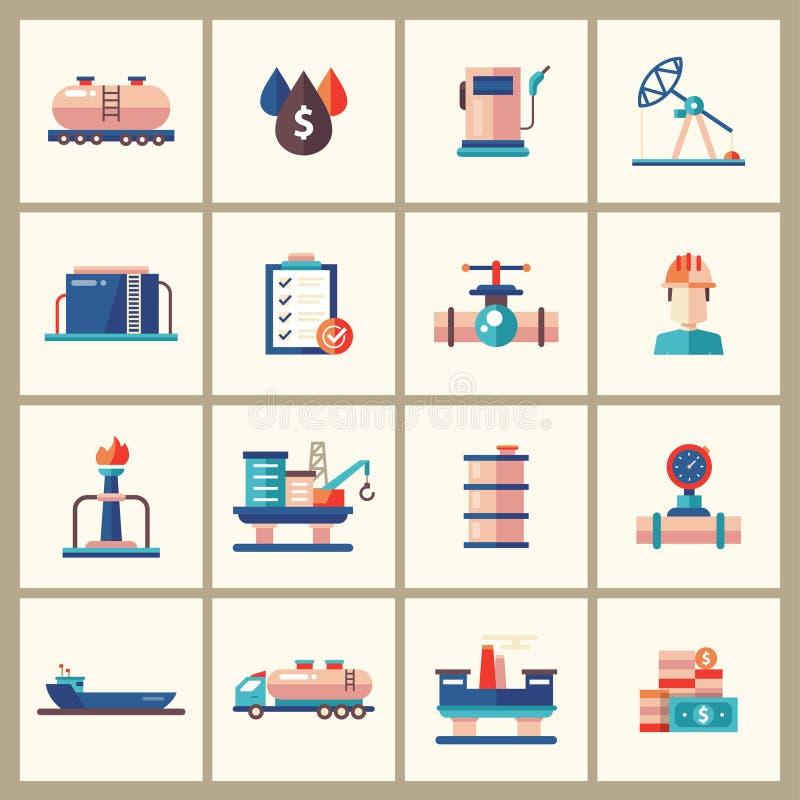 Huilez, les icônes et les pictogrammes plats modernes de conception d'industrie du gaz illustration de vecteur