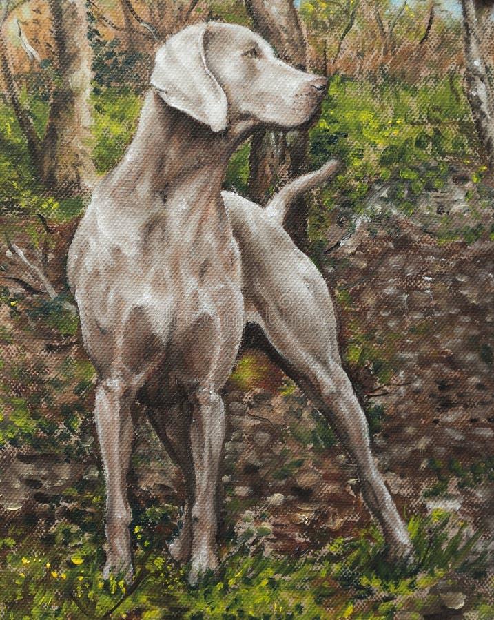 Huilez sur la toile d'un chien dans un verger illustration de vecteur