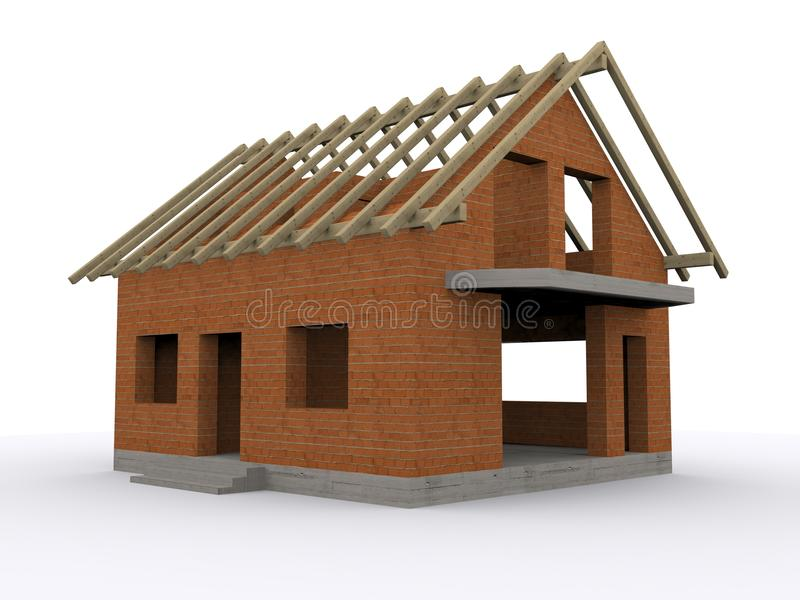 Huis in aanbouw royalty-vrije illustratie