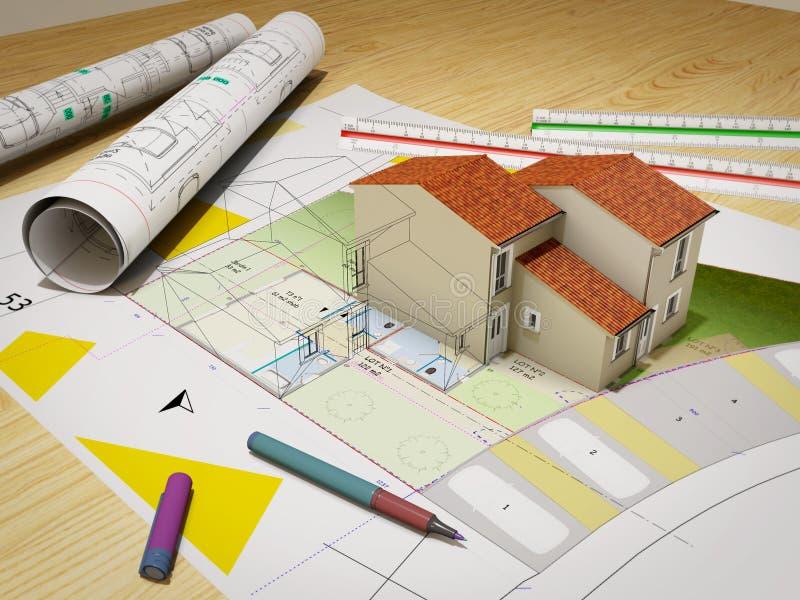 Huis in aanbouw bovenop blauwdrukken royalty-vrije stock foto's