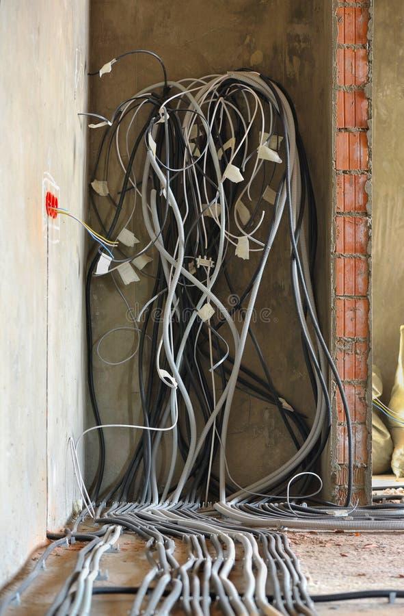 Huis in aanbouw en reparatie thuis. Elektriciteit. royalty-vrije stock afbeelding