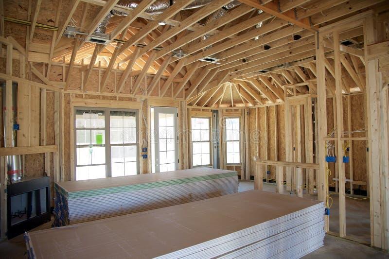 Huis in aanbouw Klaar voor Dry-Wall Installatie royalty-vrije stock fotografie