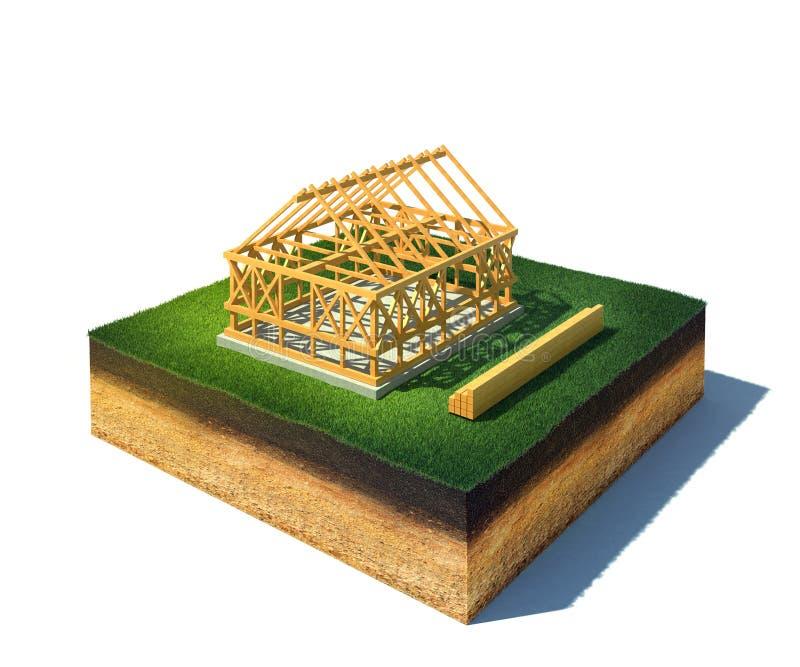 Huis in aanbouw in platteland vector illustratie