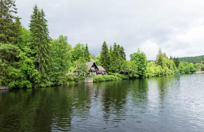 Huis achter bos nabijgelegen meer in titisee-Neustadt, Duitsland stock foto