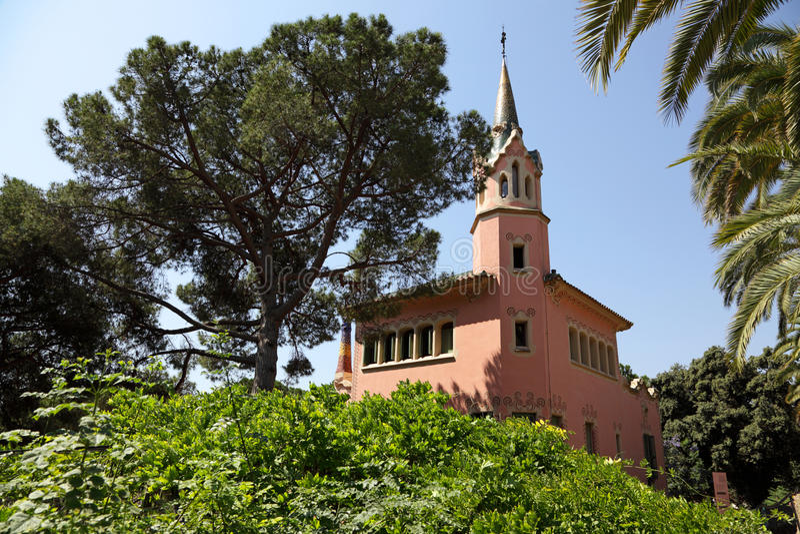 Huis Antonio Gaudi in park Guell royalty-vrije stock fotografie