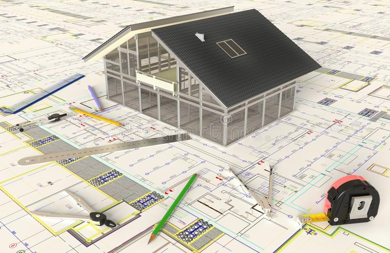 Huis Architecturale Tekening en Lay-out royalty-vrije stock afbeelding