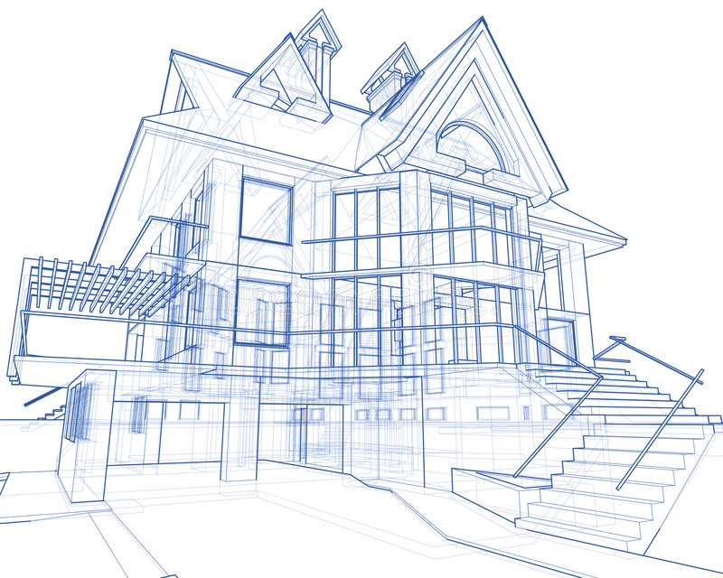 Huis - architectuurblauwdruk royalty-vrije illustratie