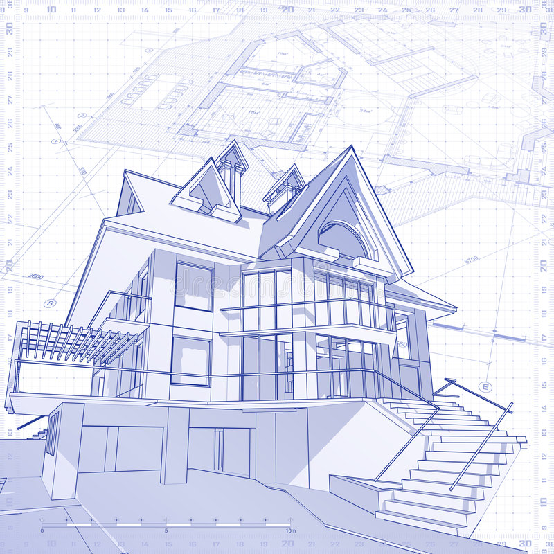 Huis - architectuurconcept stock illustratie