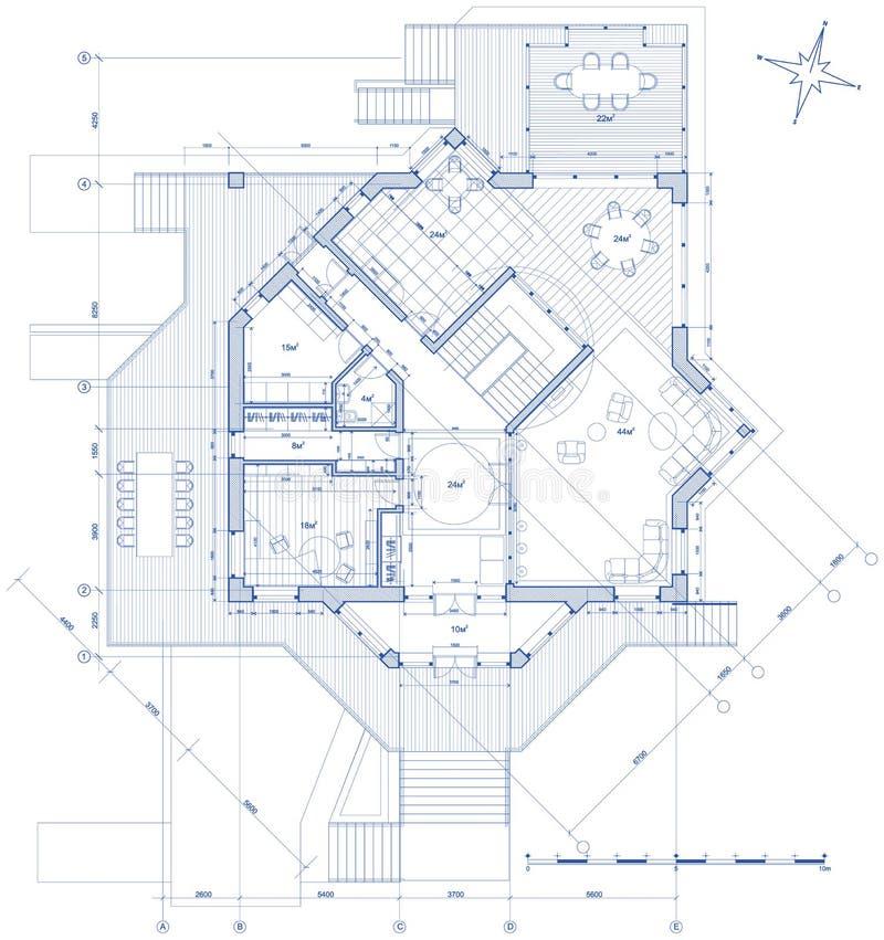 Huis - architectuurplan royalty-vrije illustratie