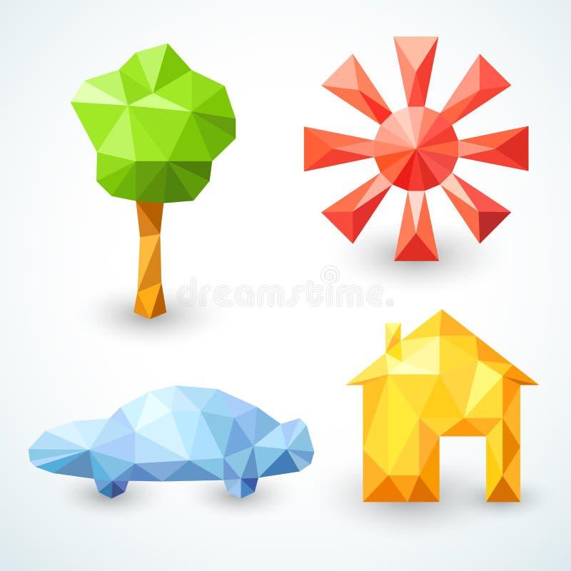 Huis, auto, boom en zon geplaatste pictogrammen. Vector vector illustratie