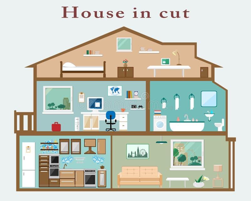 Huis in besnoeiing Gedetailleerd vlak stijlbinnenland Reeks ruimten met meubilair royalty-vrije illustratie