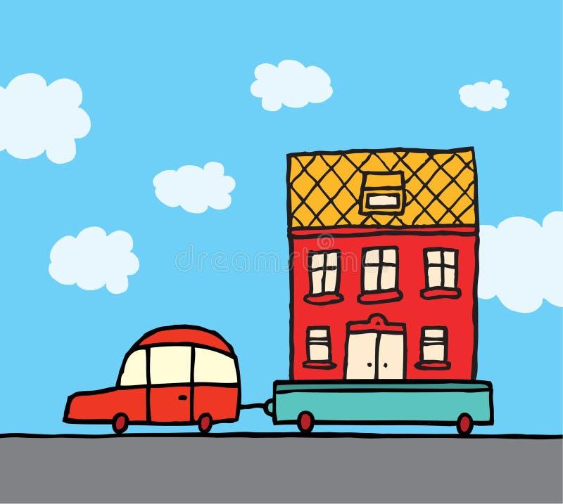 Huis bewegen zich/Auto en aanhangwagen die huis opnieuw vestigen vector illustratie