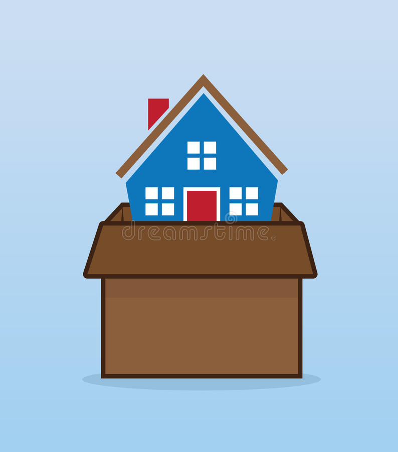 Huis Bewegende Doos stock illustratie
