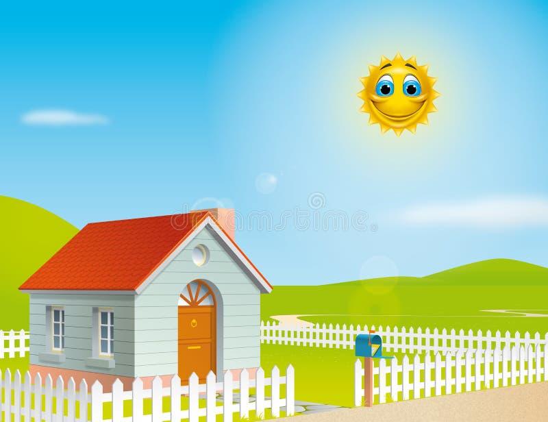 Huis bij een zonnige dag royalty-vrije illustratie