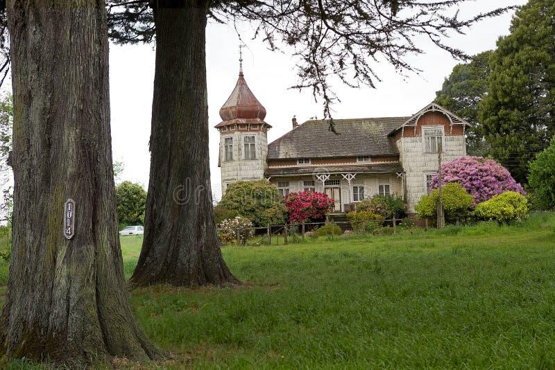 Huis bij het Duitse Museum in Frutillar, Chili royalty-vrije stock afbeelding