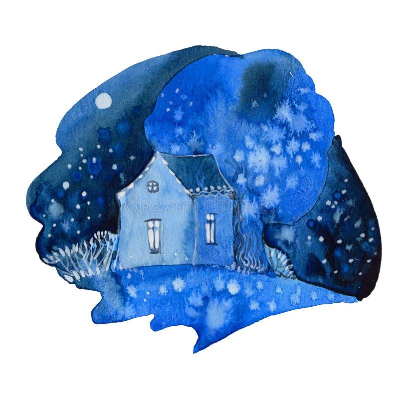 Huis bij Nacht royalty-vrije illustratie