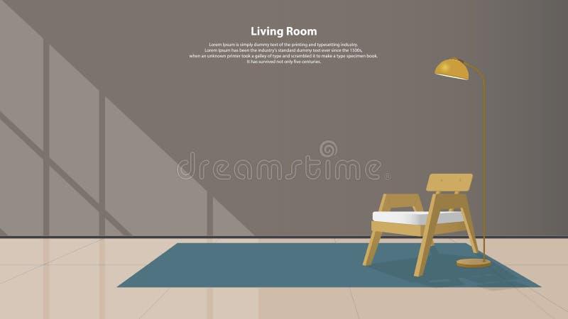 Huis binnenlands ontwerp met meubilair Moderne woonkamer met houten leunstoel, lampen en tapijt in vlak ontwerp Vector vector illustratie