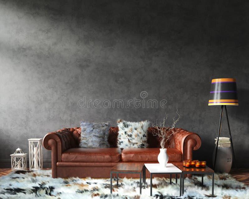 Huis binnenlands prototype met bank en decor, zwarte modieuze zolderwoonkamer stock fotografie
