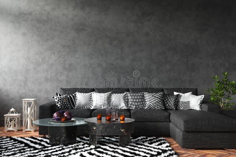 Huis binnenlands prototype met bank en decor, zwarte modieuze zolderwoonkamer stock foto
