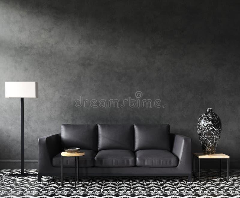 Huis binnenlands prototype met bank en decor, zwarte modieuze zolderwoonkamer royalty-vrije stock afbeelding