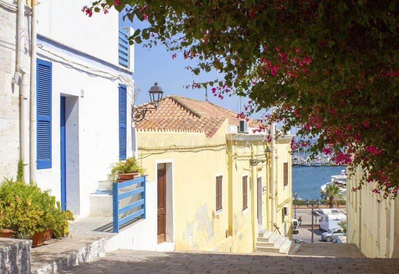 Huis blauw & wit met bougainvillea stock foto's