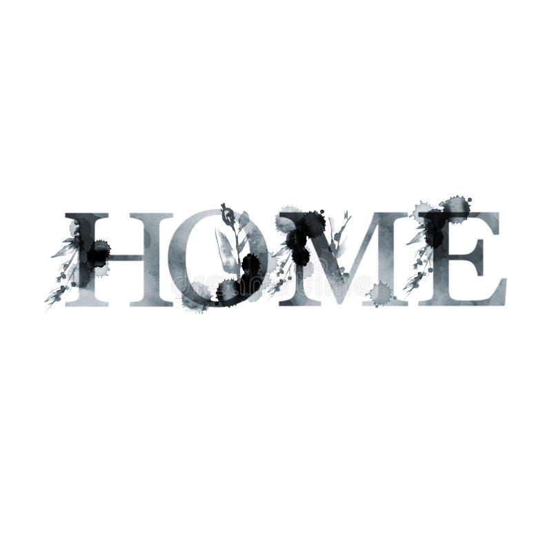 Huis - bloemen artistiek het van letters voorzien woord De moderne kaart van de alfabetgroet De illustratie van de waterverf Geïs royalty-vrije illustratie