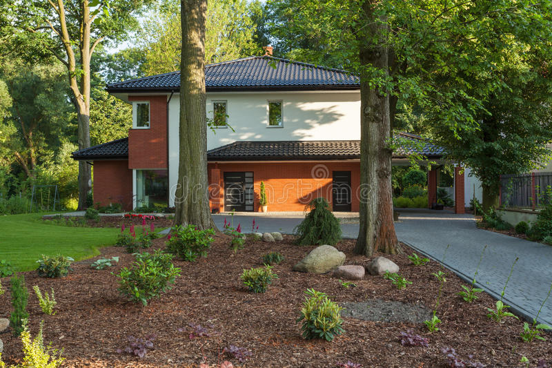 Huis in bomen stock afbeelding