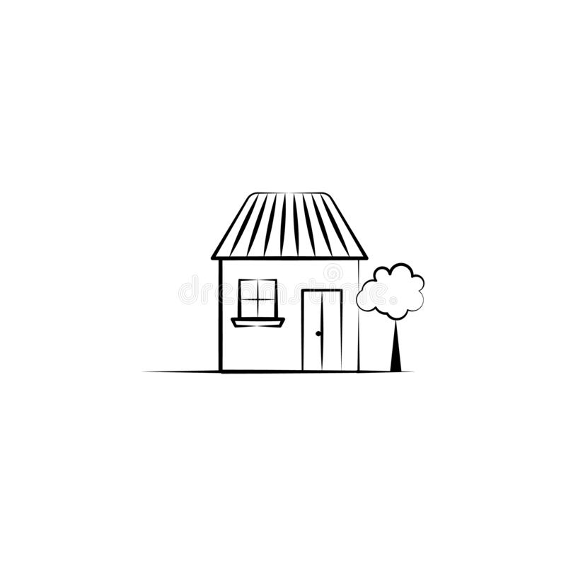 Huis, boompictogram Element van hand getrokken Denkbeeldig huispictogram voor mobiele concept en webtoepassingen Kan het hand get stock illustratie
