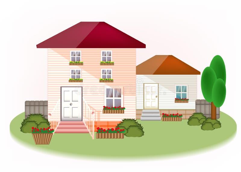 Huis buiten met bomen, bloemen, leuke moderne grafisch royalty-vrije illustratie