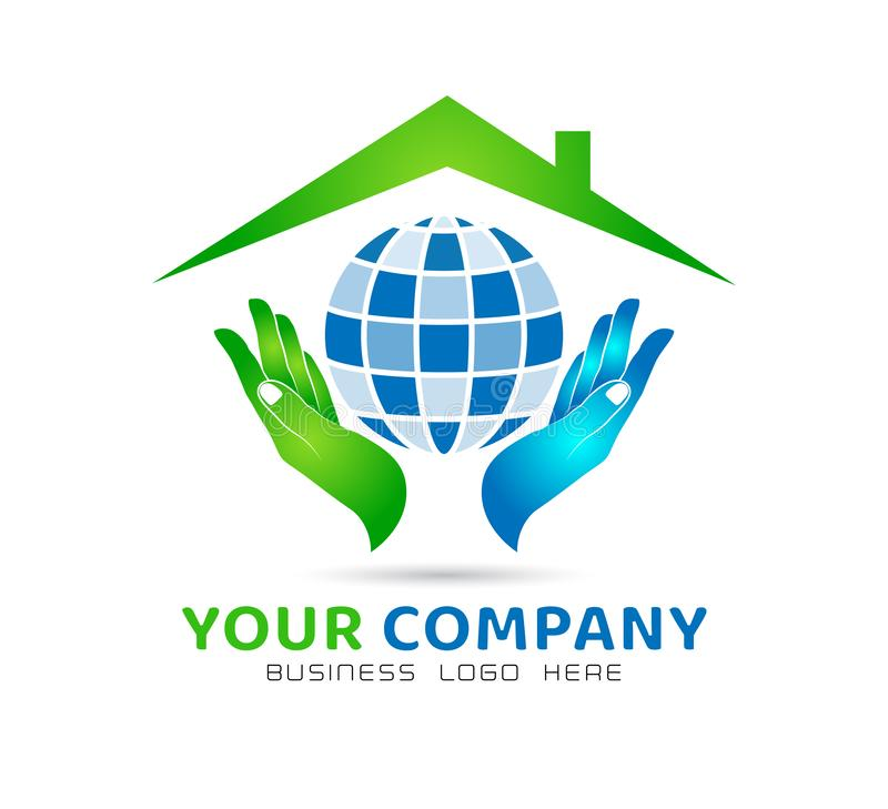 Huis communautaire modelsamenvatting, Bol in het embleemvector van handenonroerende goederen vector illustratie