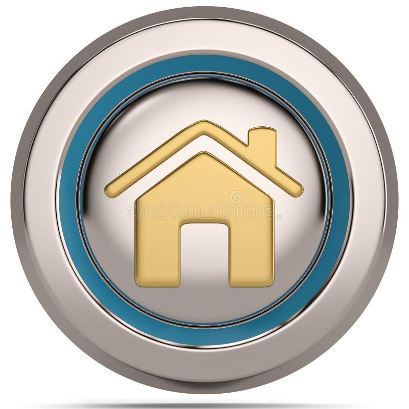Huis 3d pictogram op witte achtergrond wordt geïsoleerd die 3D Illustratie vector illustratie