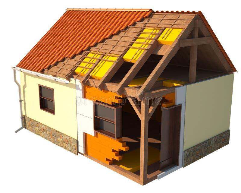 Huis dat door lagen, hoofd zichtbare structuur wordt getoond royalty-vrije illustratie