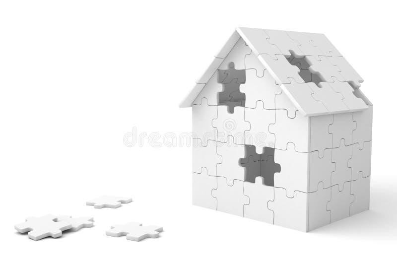Huis dat uit raadselstukken wordt gebouwd vector illustratie