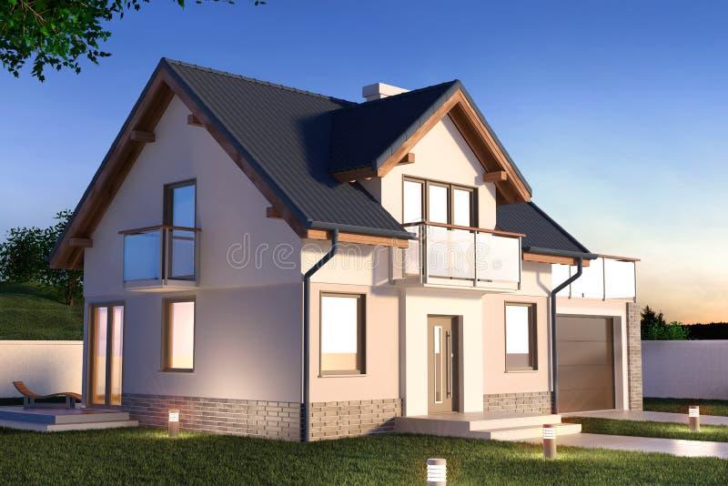 Huis in de avond, 3D illustratie stock illustratie
