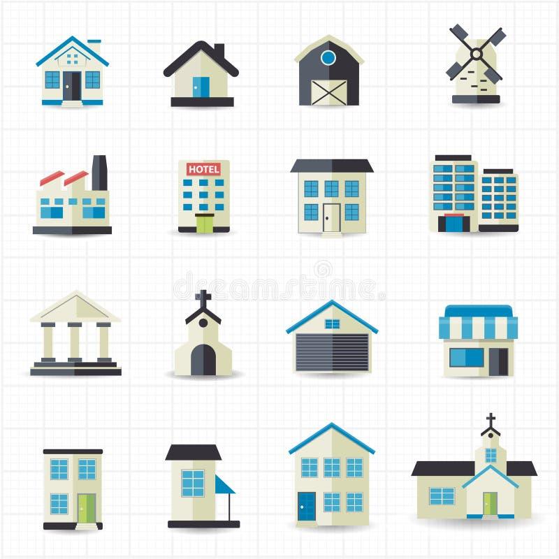 Huis de bouwpictogrammen stock illustratie