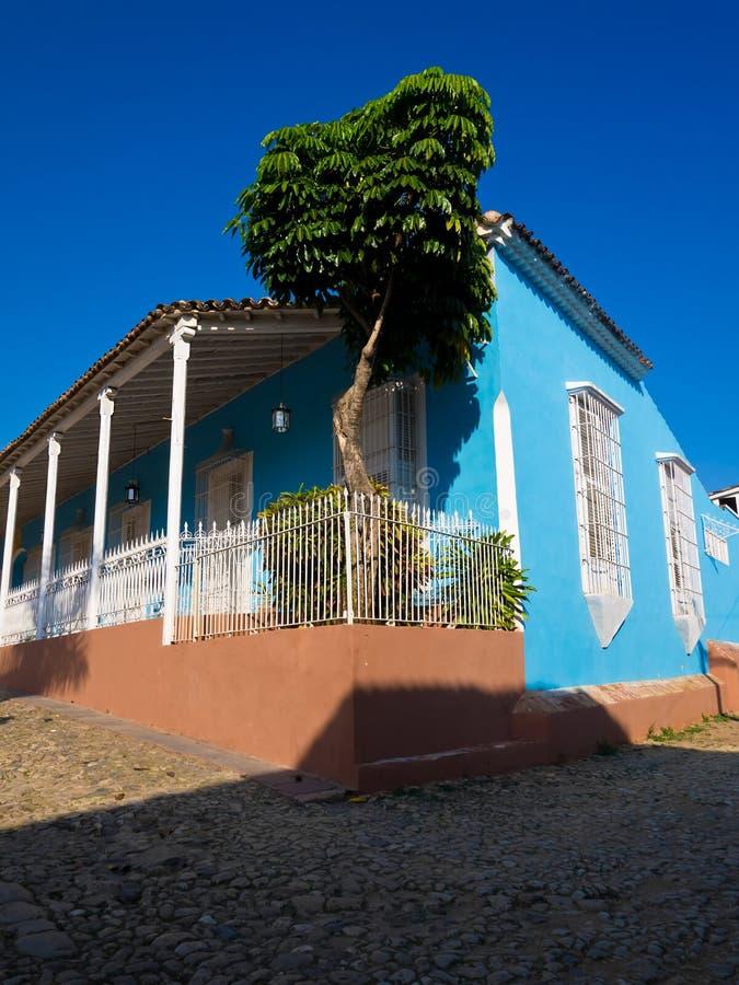 Huis in de koloniale stad van Trinidad in Cuba stock fotografie