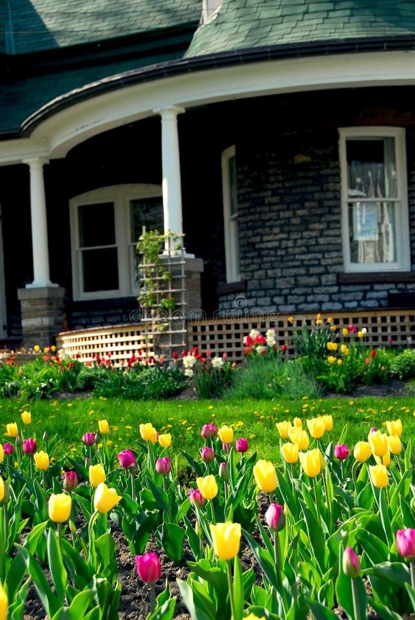 Huis in de lente royalty-vrije stock afbeelding