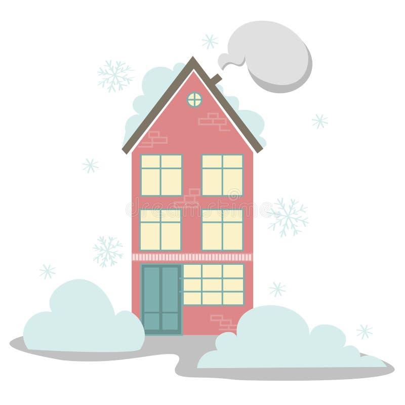 Huis in de sneeuw stock illustratie