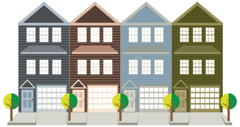 Huis in de stad met de vectorillustratie Achter elkaar van de Kleurengarage royalty-vrije illustratie
