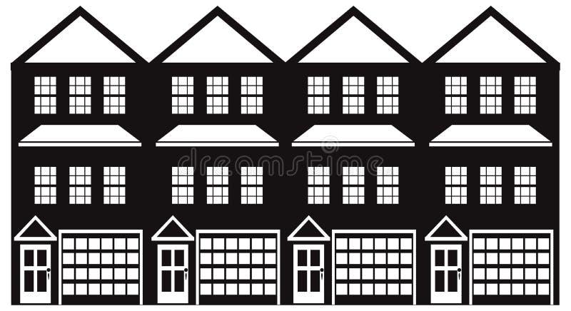 Huis in de stad met Garage Zwart-witte vectorillustratie Achter elkaar stock illustratie