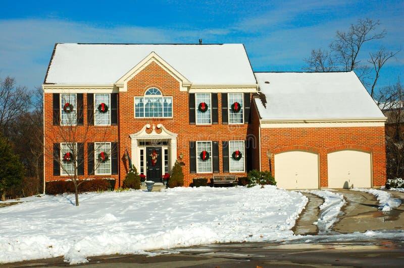 Huis in de Winter stock fotografie